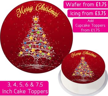 Christmas Star Tree Personalised Cake Topper