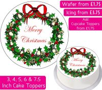 Christmas Wreath Personalised Cake Topper