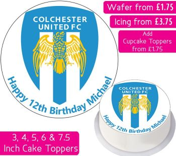 Colchester United Football Personalised Cake Topper