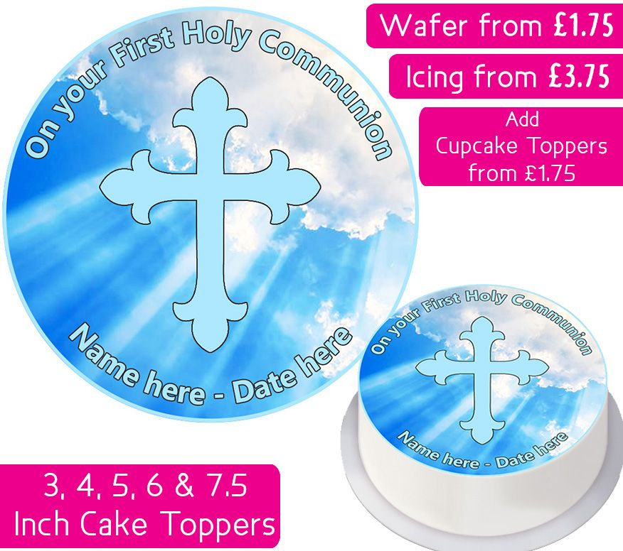 Communion Blue Personalised Cake Topper