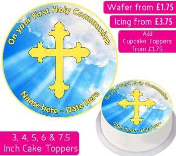 Communion Gold Personalised Cake Topper