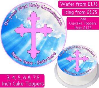 Communion Pink Personalised Cake Topper