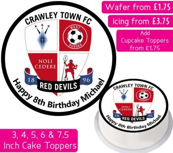 Crawley Town Football Personalised Cake Topper