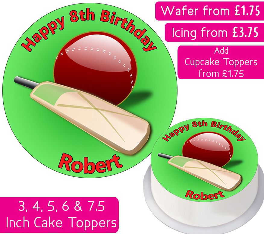 Cricket Personalised Cake Topper
