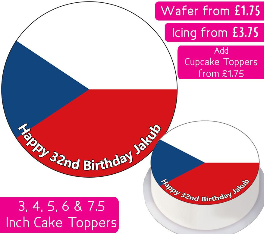 Czech Republic Flag Personalised Cake Topper