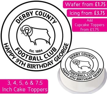 Derby County Football Personalised Cake Topper