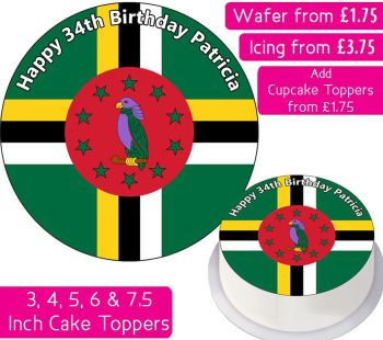 Dominica Flag Personalised Cake Topper