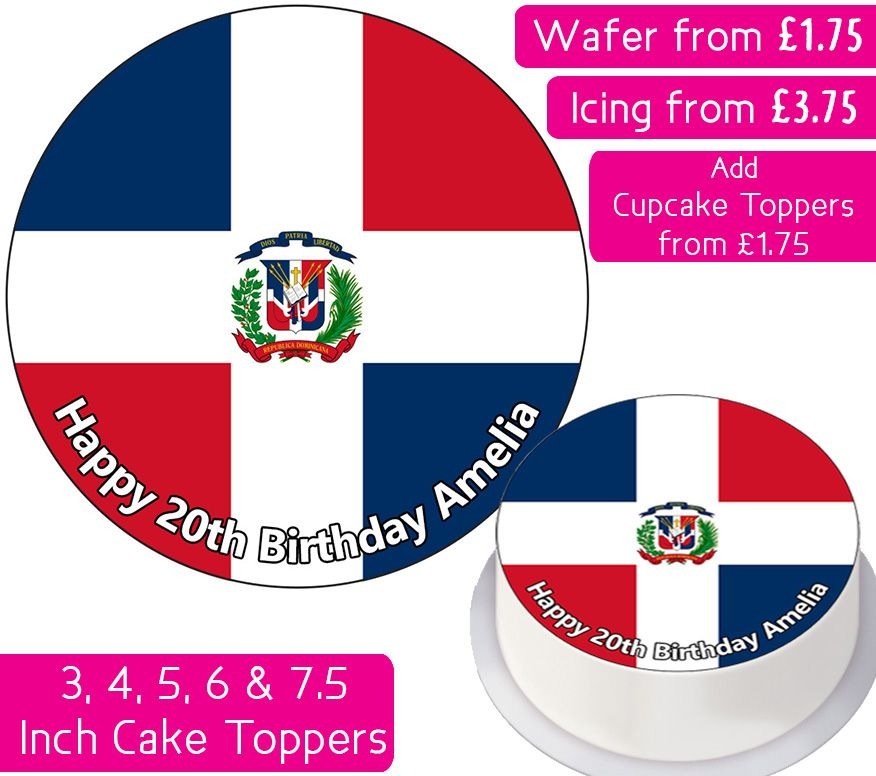Dominican Republic Flag Personalised Cake Topper