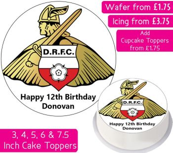 Doncaster Rovers Football Personalised Cake Topper
