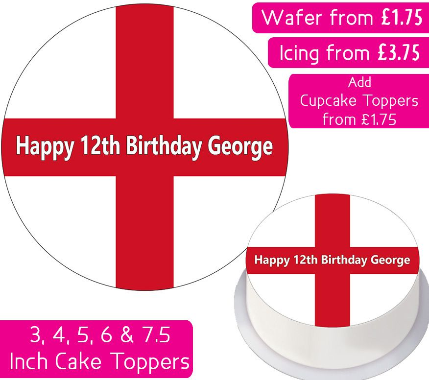 England Flag Personalised Cake Topper
