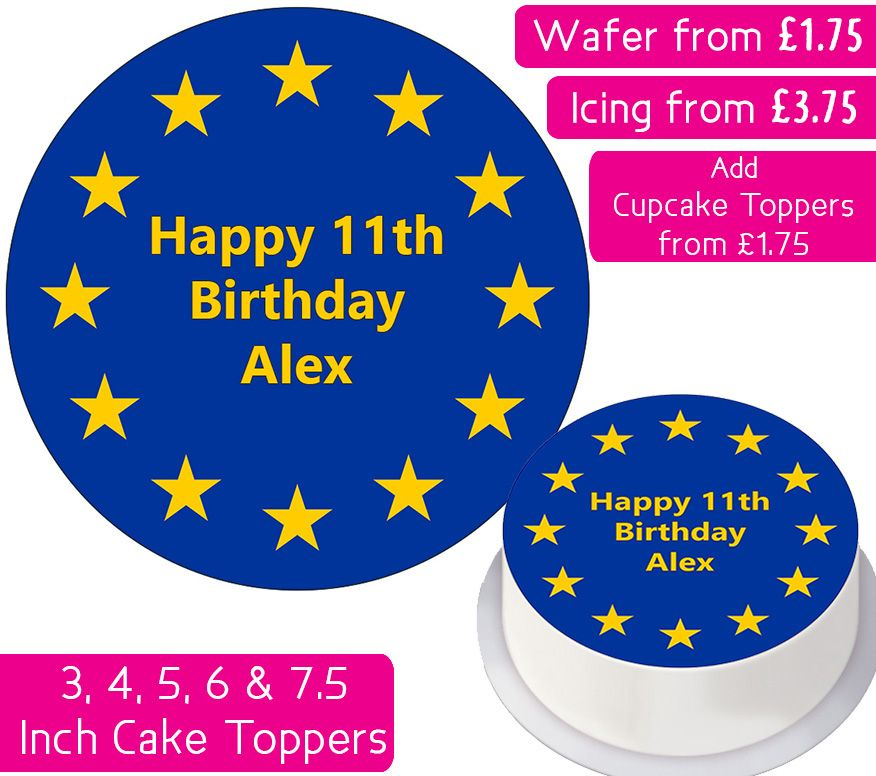 EU Flag Personalised Cake Topper