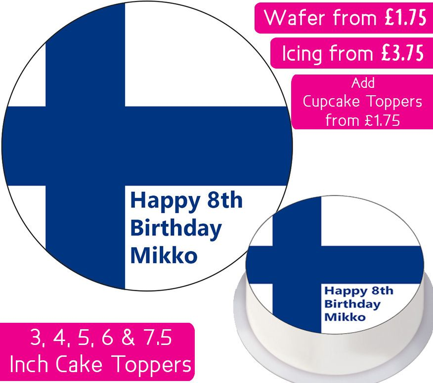 Finland Flag Personalised Cake Topper