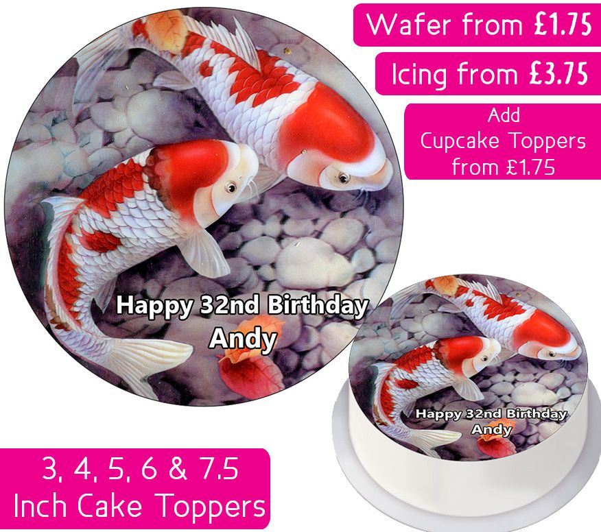 Fish Koi Personalised Cake Topper