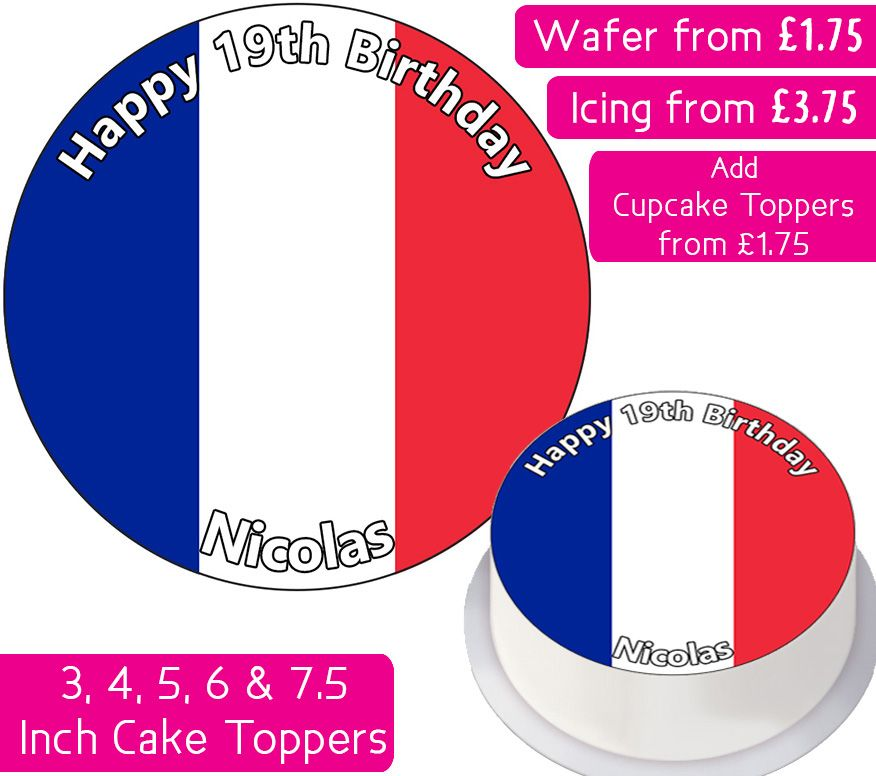 France Flag Personalised Cake Topper