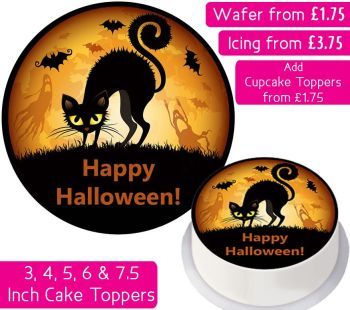 Halloween Cat Personalised Cake Topper