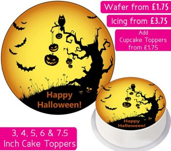 Halloween Pumpkins & Bats Personalised Cake Topper