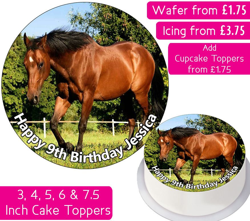 Horse Brown Personalised Cake Topper