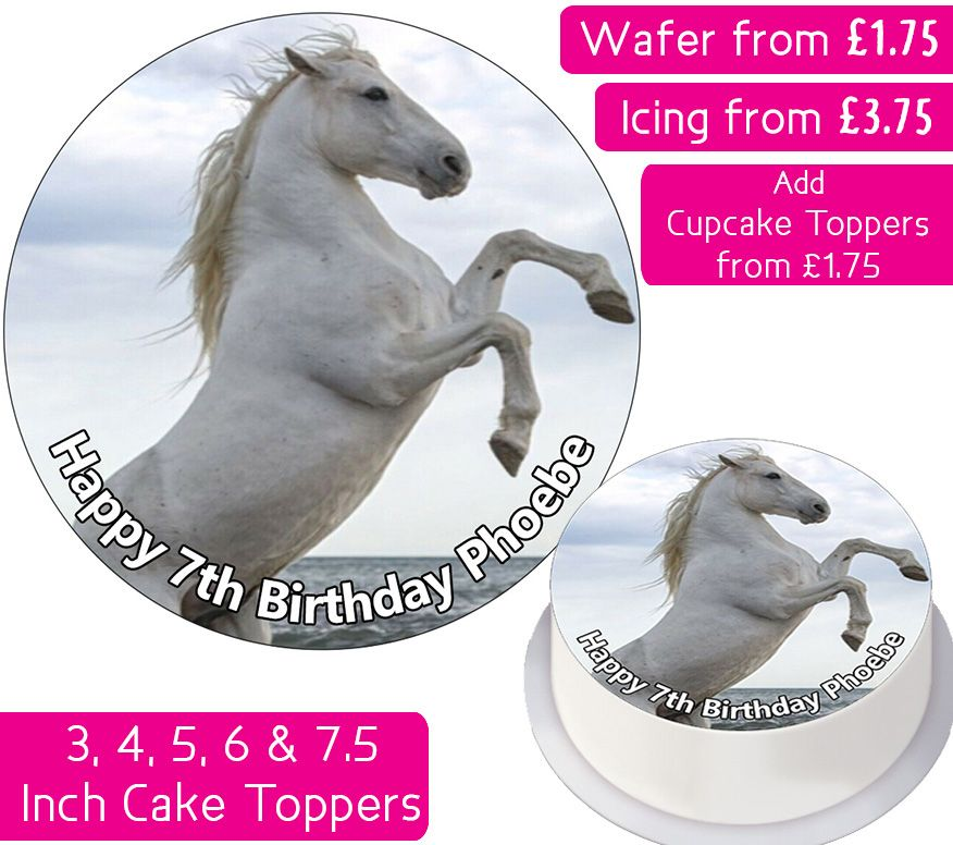 Horse White Personalised Cake Topper