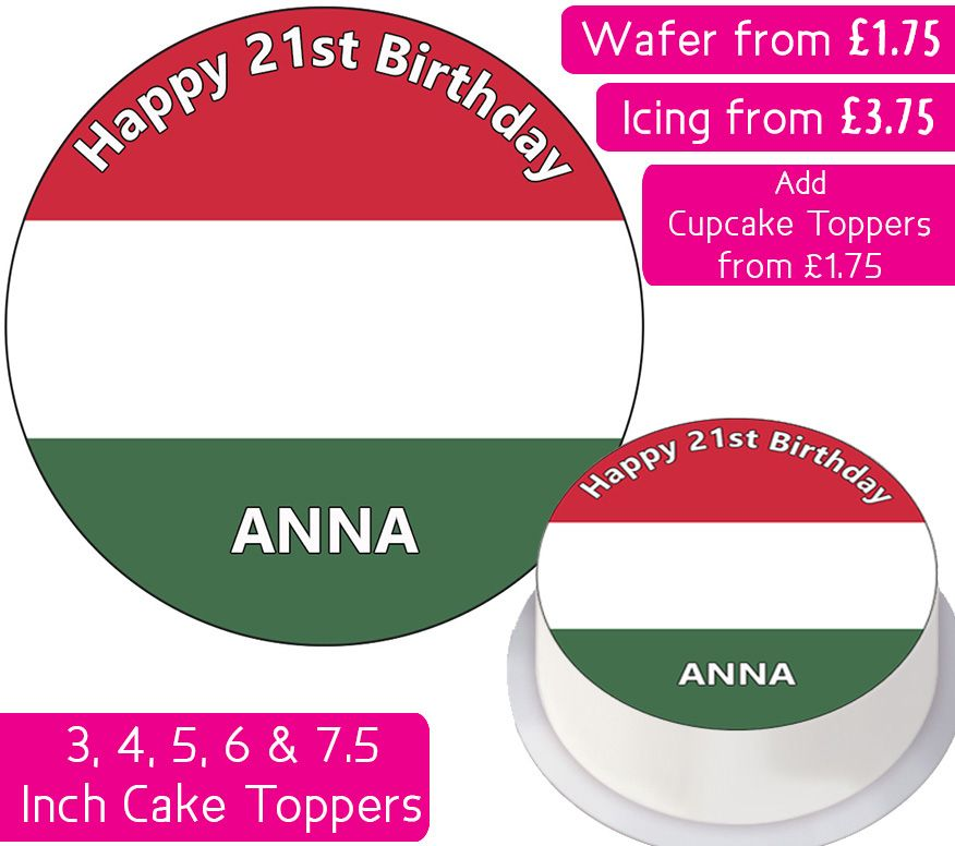 Hungary Flag Personalised Cake Topper