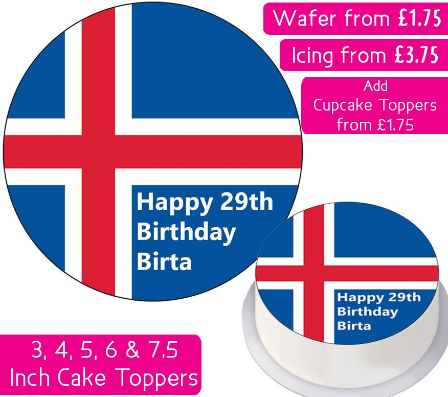 Iceland Flag Personalised Cake Topper