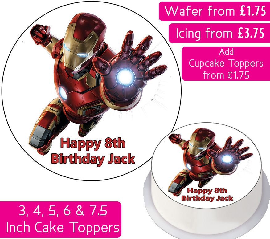 Iron Man Avengers Personalised Cake Topper