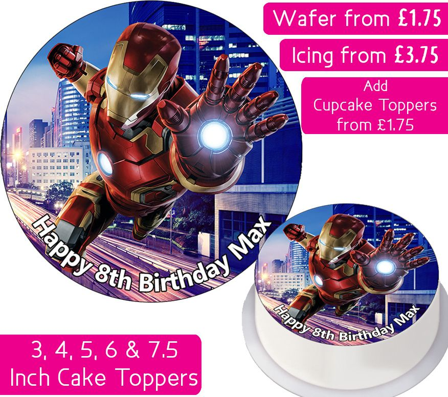 Iron Man City Avengers Personalised Cake Topper