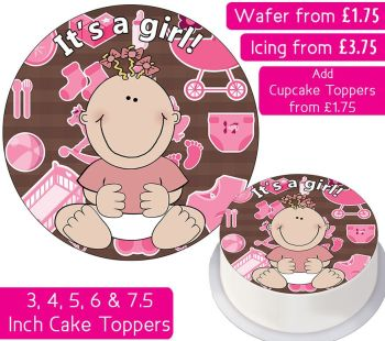 It's A Girl Personalised Cake Topper