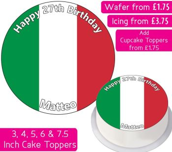 Italy Flag Personalised Cake Topper