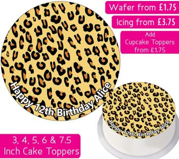 Leopard Print Personalised Cake Topper
