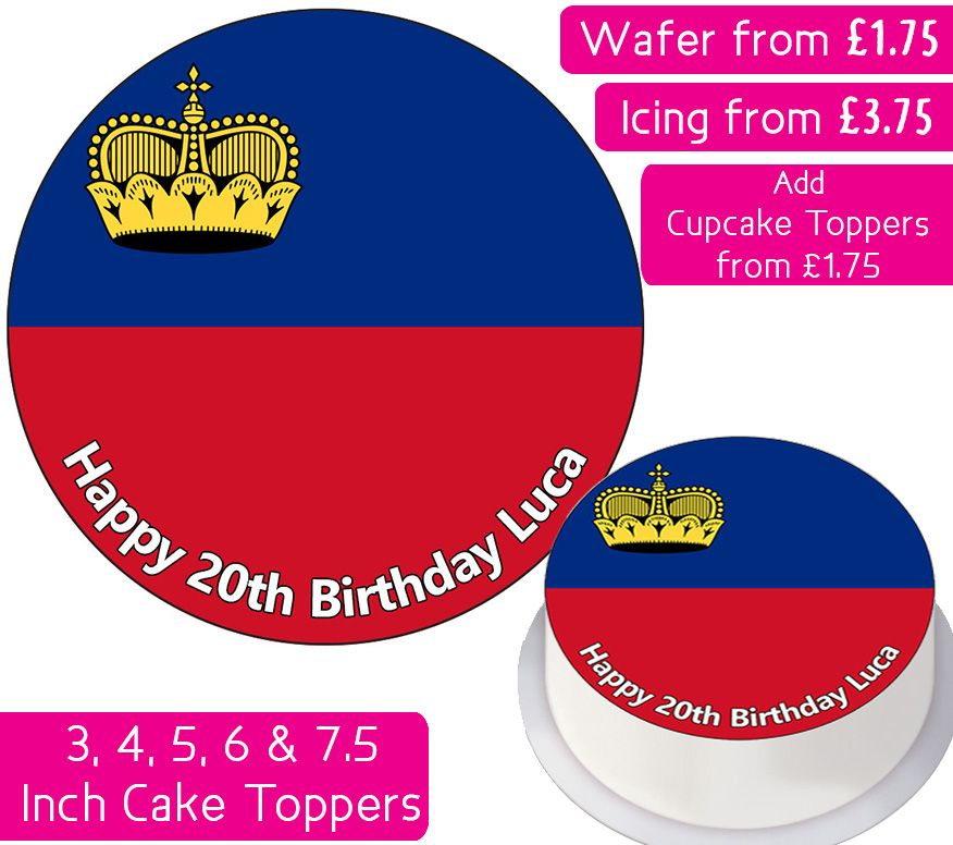 Liechtenstein Flag Personalised Cake Topper
