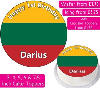 Lithuania Flag Personalised Cake Topper