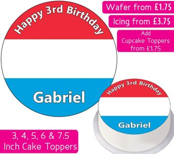 Luxembourg Flag Personalised Cake Topper