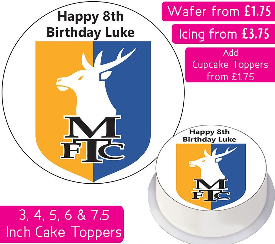 Mansfield Town Football Personalised Cake Topper