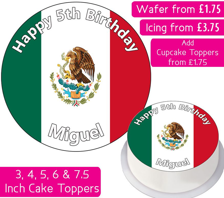 Mexico Flag Personalised Cake Topper