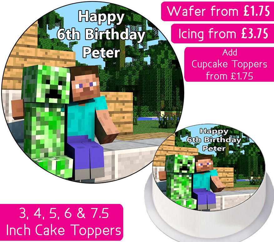 Minecraft Friends Personalised Cake Topper