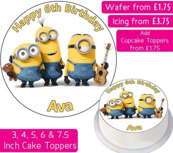Minions Curved Personalised Cake Topper