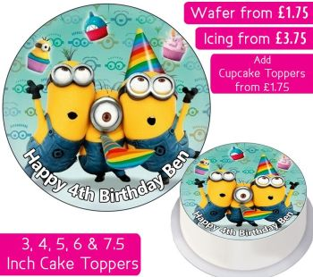 Minions Party Personalised Cake Topper