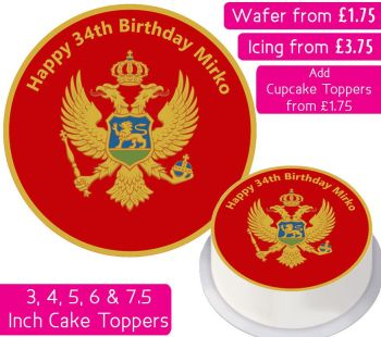 Montenegro Flag Personalised Cake Topper