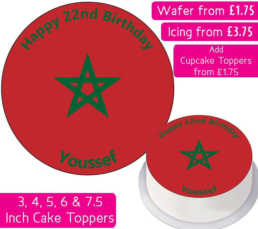 Morocco Flag Personalised Cake Topper