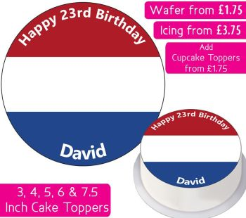 Netherlands Flag Personalised Cake Topper