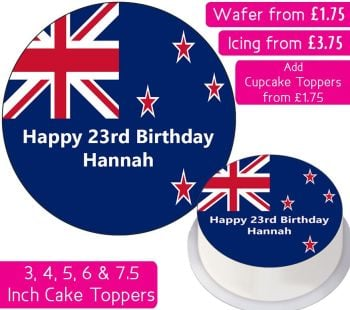 New Zealand Flag Personalised Cake Topper