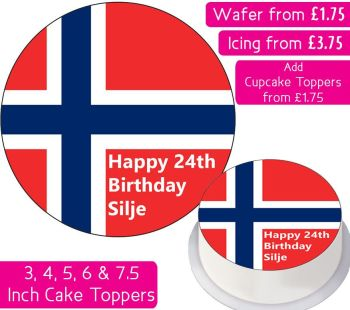 Norway Flag Personalised Cake Topper