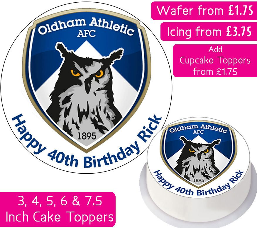 Oldham Athletic Football Personalised Cake Topper