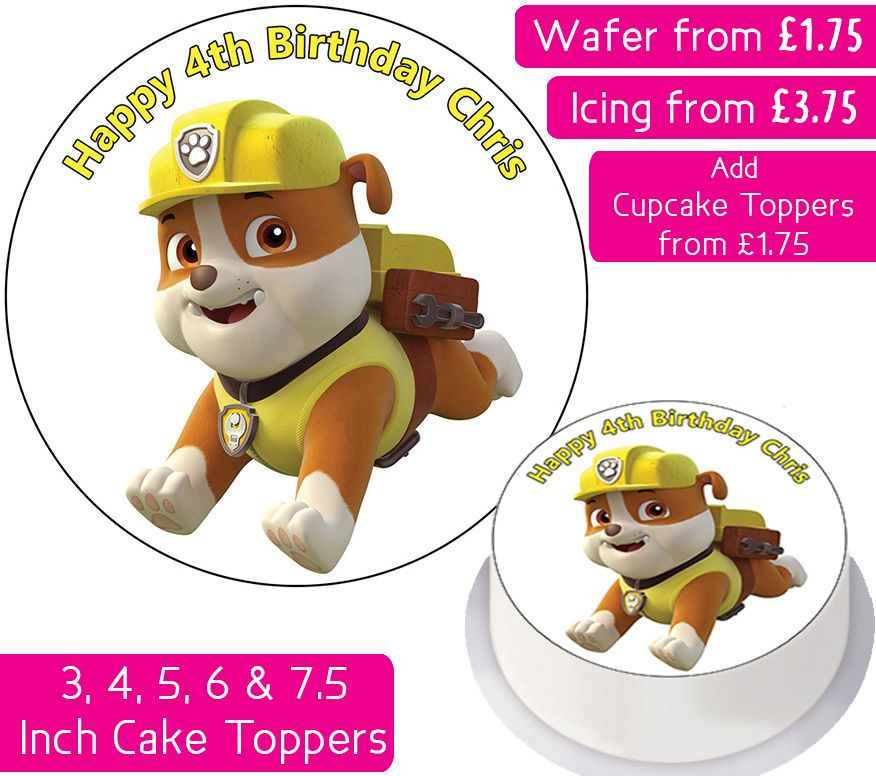 Paw Patrol Rubble Personalised Cake Topper