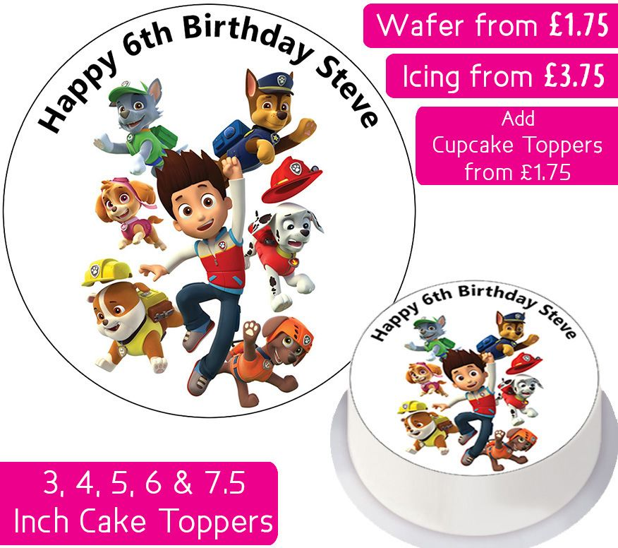 Paw Patrol Team Personalised Cake Topper