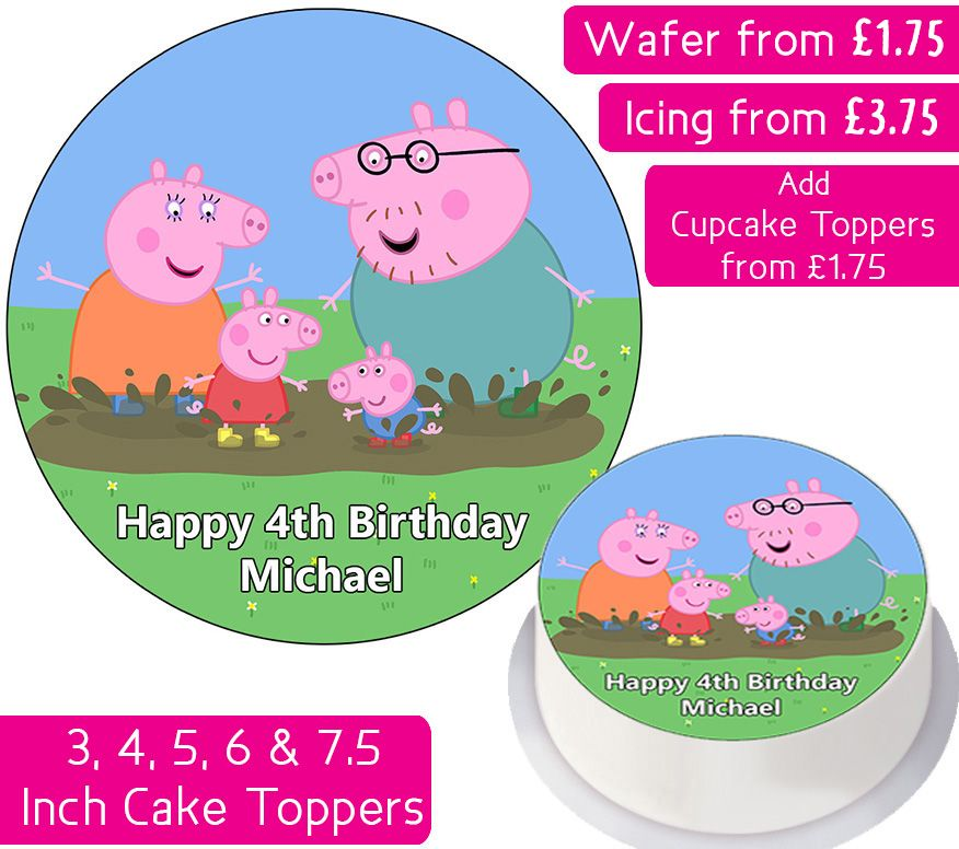 Peppa Pig Family Muddy Puddle Splash Personalised Cake Topper
