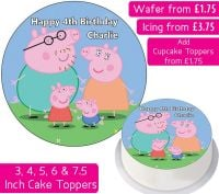 Peppa Pig Family Personalised Cake Topper
