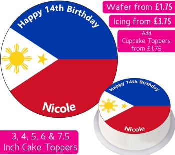 Philippines Flag Personalised Cake Topper
