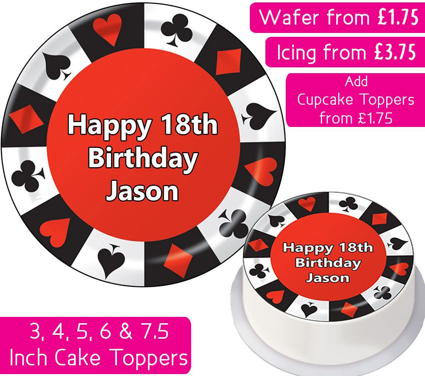 Poker Chip Personalised Cake Topper