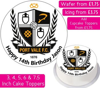 Port Vale Football Personalised Cake Topper